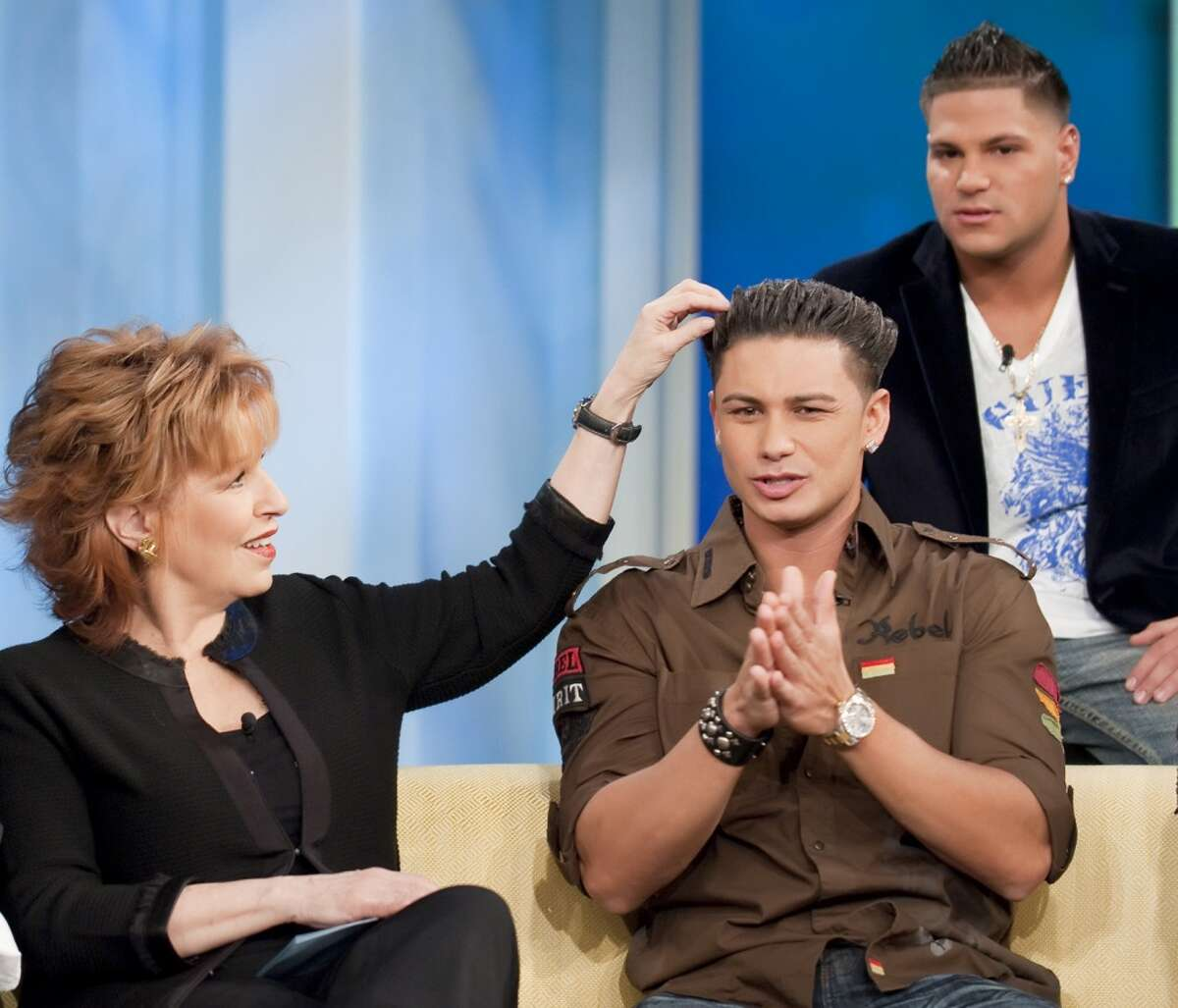 """THE VIEW - Cast members from MTV's The Jersey Shore"""" were guests on """"THE VIEW,"""" Tuesday, Feb. 23, 2010 (11:00 a.m. - 12:00 noon, ET) airing on the ABC Television Network. The co-host were given their own """"Jersey Shore """" names by Mike """"The Situation"""" Sorrentino. They are: Whoopi is """"The Administration"""" (because she sits at the head of the table,) Joy is """"The Assumption"""" (because he heard some of her on-ar comments backstage,) Elisabeth is """"The Attraction"""" and Sherri is """"The Duplication"""" (Because she has snooki's hair-do.) VW10 (Photo by Steve Fenn/ABC via Getty Images) JOY BEHAR,PAULY """"DJ PAULY D"""" DEL VECCHIO,RONNIE MAGRO"""