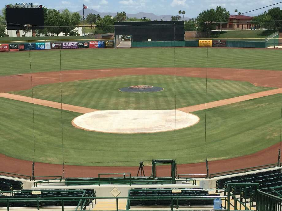 The field at Scottsdale Stadium is ready for Tim Lincecum's arrival. This picture was shot an hour and a half before he's to begin his showcase on May 6, 2016. Photo: John Shea