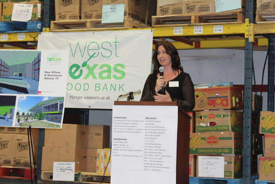 West Texas Food Bank Executive Director Libby Campbell announces the nonprofit's success in raising more than $8.2 million of its $12.7 million capital campaign in the last six months Wednesday at the organization's Odessa headquarters. The food bank also announced plans for a new 20,000 square-foot facility in Midland and 56,000 square-foot facility in Odessa. Courtesy photo