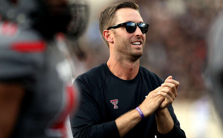 Texas Tech's Kliff Kingsbury watches his team warm up before its game against TCU in Lubbock on Sept. 18. (AP Photo/Lubbock Avalanche-Journal, Scott MacWatters) Photo: Scott MacWatters / AJ Media