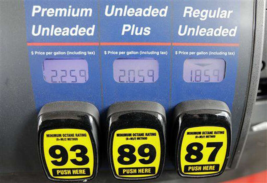 A gas pump at a RaceTrac convenience store displays the price for gas.  Photo: Associated Press