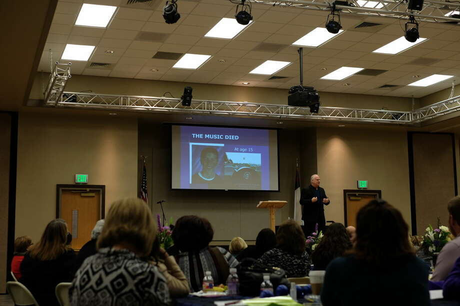 Eric Hipple, former NFL star and suicide survivor, speaks at the Permian Basin Mental Health Conference on Friday
