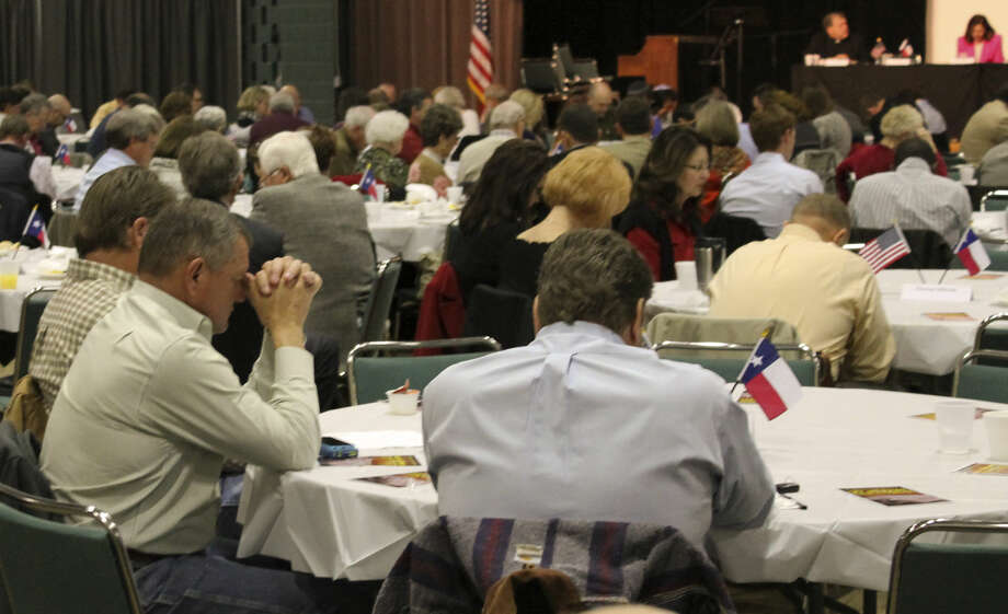 Members of the community gathered Tuesday morning for the 2015 Midland Prayer Breakfast featuring former Frank Wolf, former congressman of Virginia and currently with the nonprofit 21st Century Wilberforce Initiative. Speakers at the event led prayers for Midland, the United States and nations around the world. There was a special emphasis placed on supporting religious freedom, as well as a call to action against growing religious persecution worldwide. Steve Kuhlmann/Reporter-Telegram Photo: Midland Reporter-Telegram