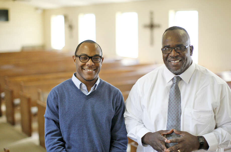 From left, Rev. Bryant Phelps, assistant pastor of St. Paul's UMC in Dallas, and Rev. Tommie Hale, pastor of Mount Calvary Baptist Church in Midland, photographed Saturday, Jan. 30, 2016, at Mount Calvary. James Durbin/Reporter-Telegram Photo: James Durbin
