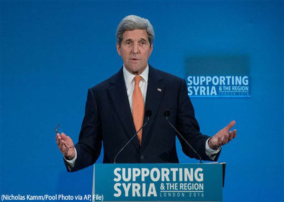 FILE - In this Feb. 4, 2016 file-pool photo, Secretary of State John Kerry at a conference entitled 'Supporting Syria & The Region,' in London. As Kerry heads to Munich, Wednesday, Feb. 10, 2016, in search of compromises that could yield a truce and revive peace talks that were suspended before they really started, the administration is being pressed by all sides to clarify its strategy. (Nicholas Kamm/Pool Photo via AP, File) Photo: Nicholas Kamm