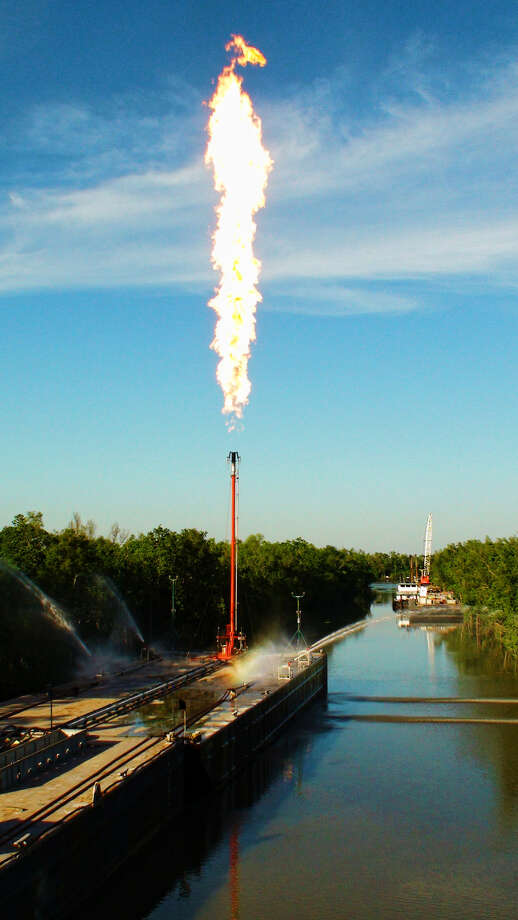 With the use of its drone, Total Safety can inspect flare stacks such as this barge flare. The company is making its inspection-by-drone services available to Permian Basin customers. Photo: Photo Courtesy Total Safety