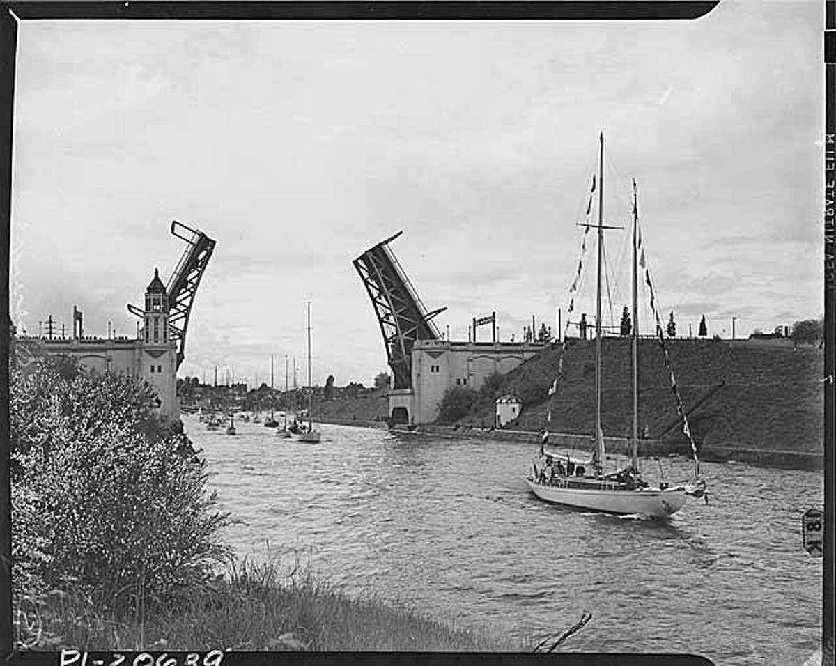 Boats transit the Montlake Cut in Seattle are pictured on the opening day of boating in 1941.