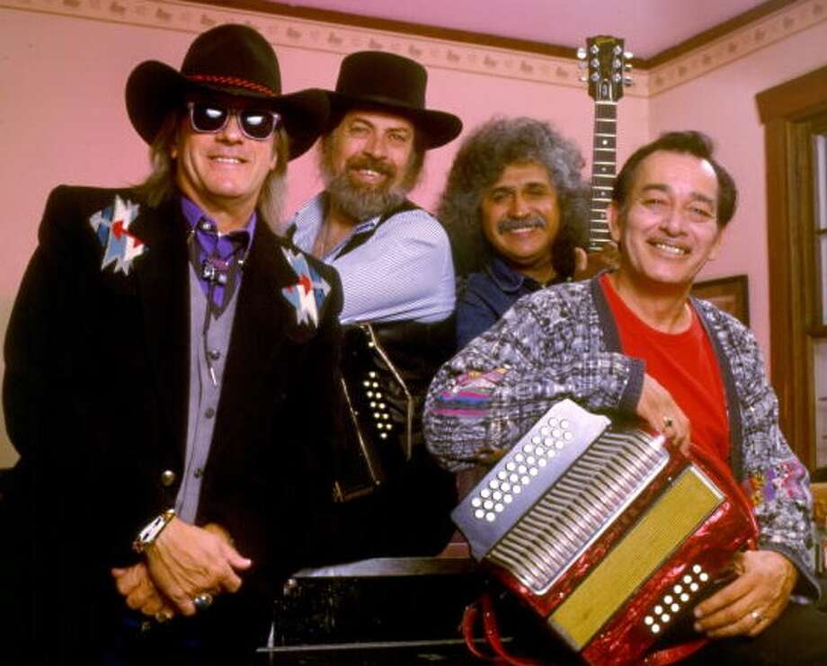 "Doug Sahm, Augie Meyers, Freddy Fender and Flaco Jimenez of the Texas Tornados recorded Rich Minus' hit ""Laredo Rose"" in the 1990s. According to Meyers, Sahm new they had to do the song from the first time he heard it. Photo: Getty Images / WireImage"