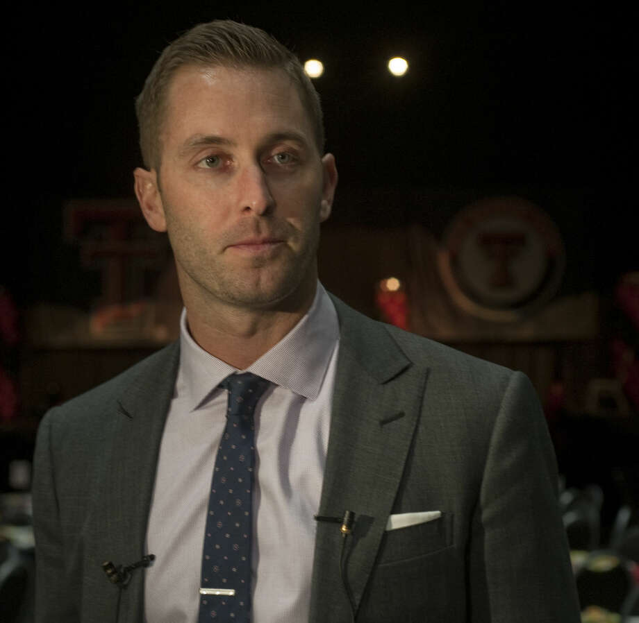 Texas Tech football coach Kliff Kingsbury talks with the media Monday, 2-16-15, before a recruiting review dinner at the Midland Horseshoe Pavilion. Tim Fischer\Reporter-Telegram Photo: Tim Fischer