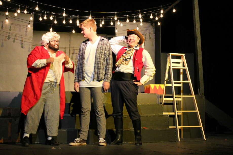 Mark Gabaldon, left, Dylan Watson and James Ray Edwards star in Permian Playhouse's 'The Fantasticks.' Photo: Courtesy Photo