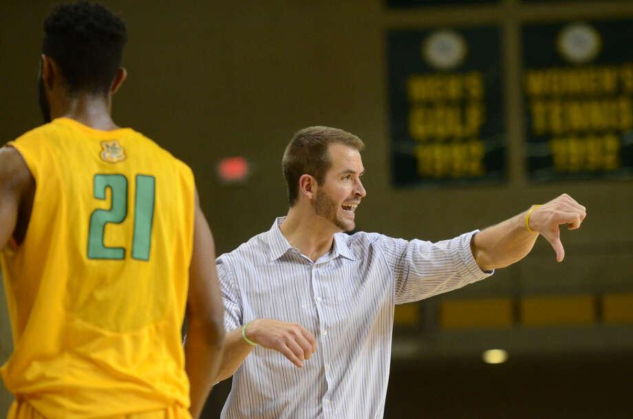 Midland College men's basketball head coach Jordan Dreiling looks on during the game against Howard College on Thursday, Jan. 29, 2015 at Chaparral Center. James Durbin/Reporter-Telegram