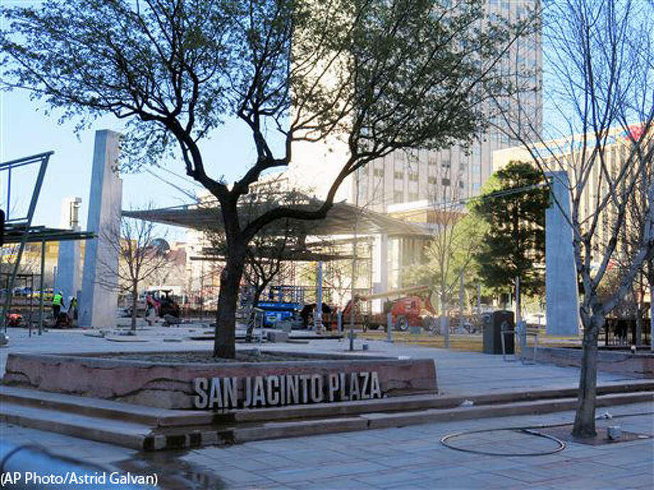 In this Wednesday, Jan. 27, 2016 photo, San Jacinta Plaza is shown under construction in downtown El Paso, Texas. The renovations began nearly three years ago and are long overdue. They are part of a large revitalization effort in downtown El Paso. (AP Photo/Astrid Galvan) Photo: Astrid Galvan