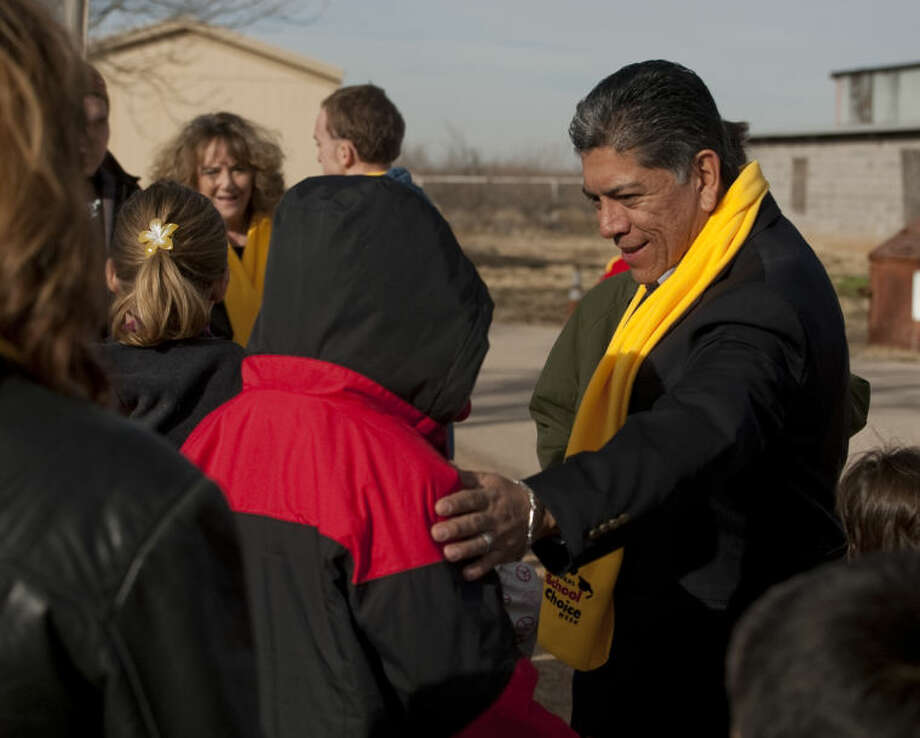 Mayor Jerry Morales talks with students at Bynum School Thursday after speaking at the National School Choice ceremony at Bynum School. Tim Fischer\Reporter-Telegram Photo: Tim Fischer