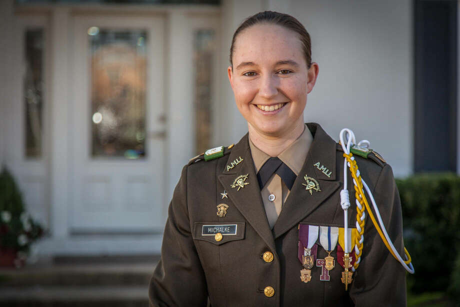Alyssa Marie Michalke of Schulenburg, Texas, seen in an undated photo provided Monday, Feb. 16, 2015 by Texas A&M University, as the first female leader of the Corps of Cadet/