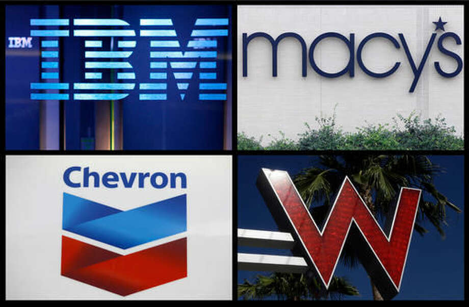 This combination of file photos shows logos for IBM, Macy's, Chevron and Starwood Hotels and Resorts group's W Hotel Hollywood. Big companies have lost billions buying their own shares. Nearly half the companies in the Standard and Poor's 500 index paid more for their shares in the past three years than they are worth, according to analysis by The Associated Press. Retailer Macy's is down $1.4 billion on its purchases, a 24 percent loss. As the price of oil plunged, driller Chevron lost $3.3 billion betting on its stock, a 33 percent loss. Starwood Hotels & Resorts Worldwide has lost hundreds of millions on buybacks, more than a fifth of what it spent. IBM has the biggest losses from buybacks, down $5.5 billion. (AP Photo) Photo: STF