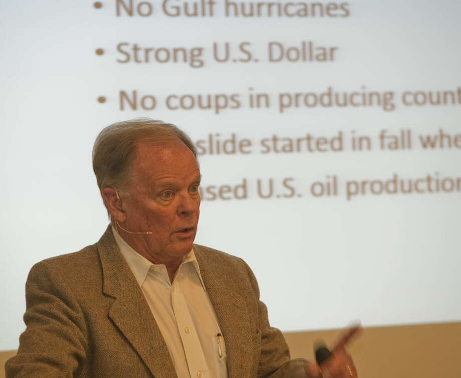 Morris Burns speaks Tuesday, 2-17-15, at the Petroleum Museum Brown Bag Luncheon about the ups and downs of the oil industry. Tim Fischer\Reporter-Telegram Photo: Tim Fischer
