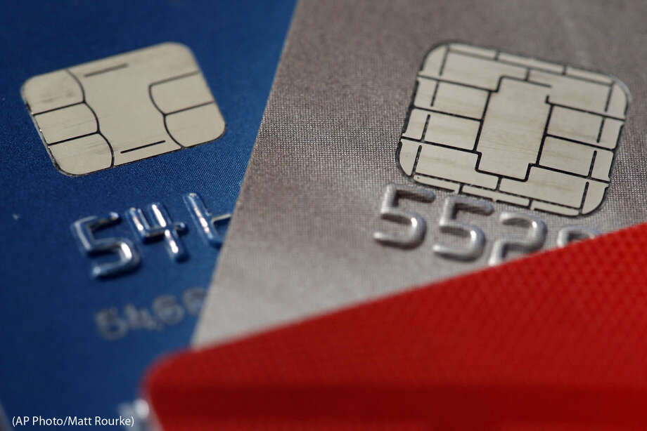 This Wednesday, June 10, 2015 photo shows chip credit cards in Philadelphia. (AP Photo/Matt Rourke) Photo: Matt Rourke