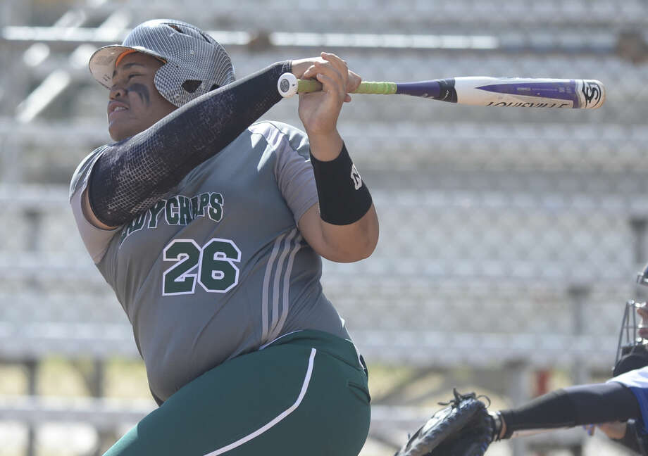 Midland College's Lauren Taunu'u swings against Barton County College on Saturday, Feb. 13, 2016, at Freddie Ezell Softball Complex. James Durbin/Reporter-Telegram