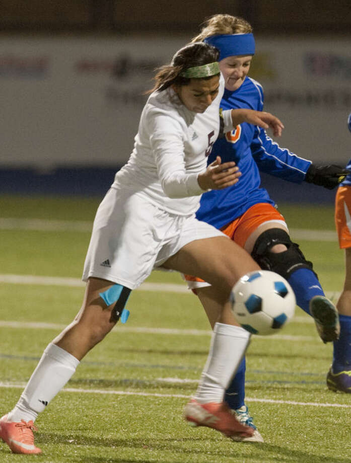 Lee's Marina Silva collides with Central's Annie Fuchs Tuesday evening at Grande Communications Stadium. Tim Fischer\Reporter-Telegram Photo: Tim Fischer