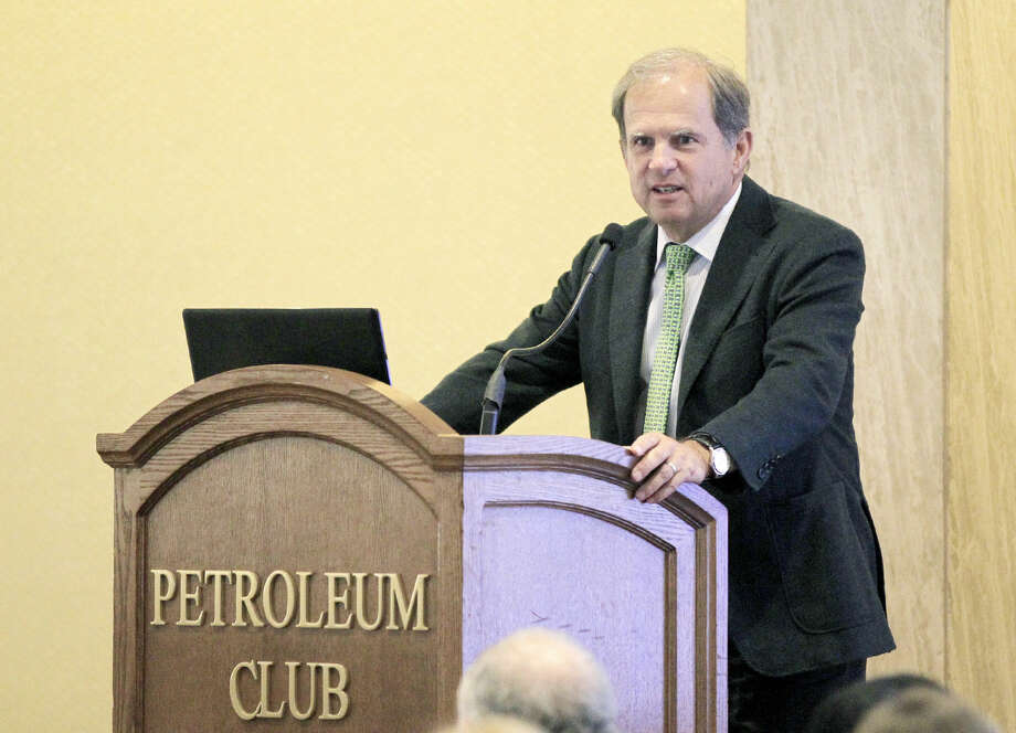 Scott Sheffield, CEO of Pioneer Natural Resources, addresses the Permian Basin Chapter of Division Order Analysts during a luncheon Wednesday, Feb. 18, 2015 at the Petroleum Club. James Durbin/Reporter-Telegram Photo: James Durbin