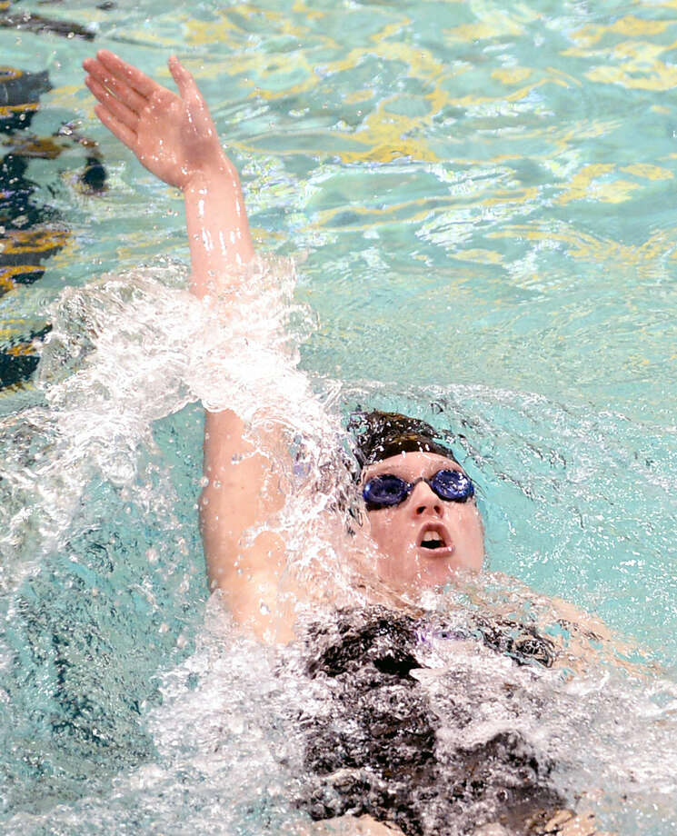 Midland High's Kile Carriger competes in the women's 200 yard IM event during the District 3-6A swimming and diving meet on Saturday, Jan. 3, 2016 at the Mabee Aquatic Center. James Durbin/Reporter-Telegram Photo: James Durbin