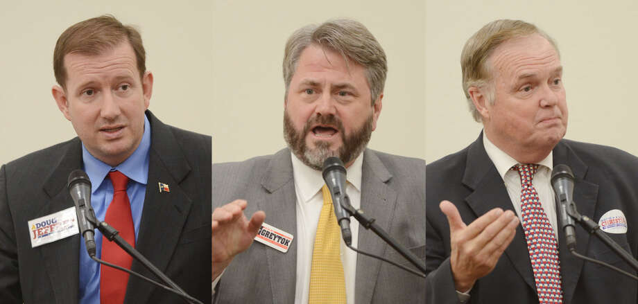 Railroad Commissioner candidates Doug Jeffrey, John Greytok, Wayne Christian,  speak during a forum Wednesday, Feb. 10, 2016, at Horseshoe Pavilion. James Durbin/Reporter-Telegram Photo: James Durbin