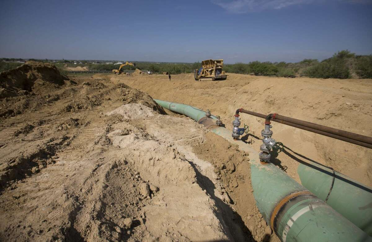 In this Sept. 7, 2014 photo, pipelines to carry gas from Texas to Mexico are shown.