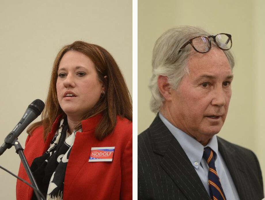 District attorney candidates Laura A. Nodolf and William R. Lundy Jr. Photo: James Durbin