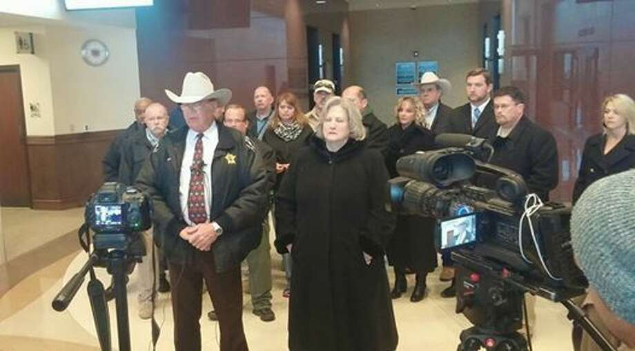 Midland County District Attorney Teresa Clingman and Sheriff Gary Painter held a press conference Friday about Dan Higgins' guilty plea in the death of Sgt. Mike Naylor.  Photo: Rachael Gleason/Reporter-Telegram