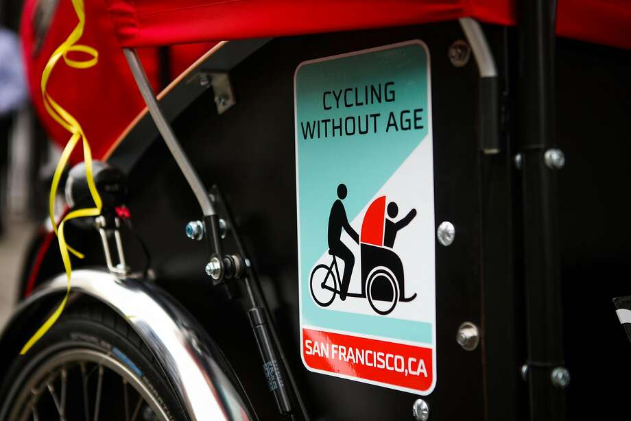 A sticker can be seen on a tricycle rickshaw, which was donated to the Curry Senior Center by Zendesk in a partnership with Cycling Without Age, in San Francisco, California, on Friday, May 6, 2016. Photo: Gabrielle Lurie, Special To The Chronicle