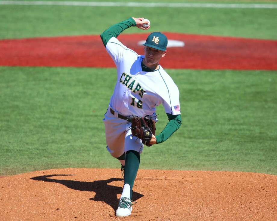 Midland College sophomore pitcher Daniel Crooks is seen here in action earlier this season at Christensen Stadium. Crooks, a Midland Christian graduate, gets the start in the opening game of the series against Frank Phillips College on Saturday. Forrest Allen/MC Athletics