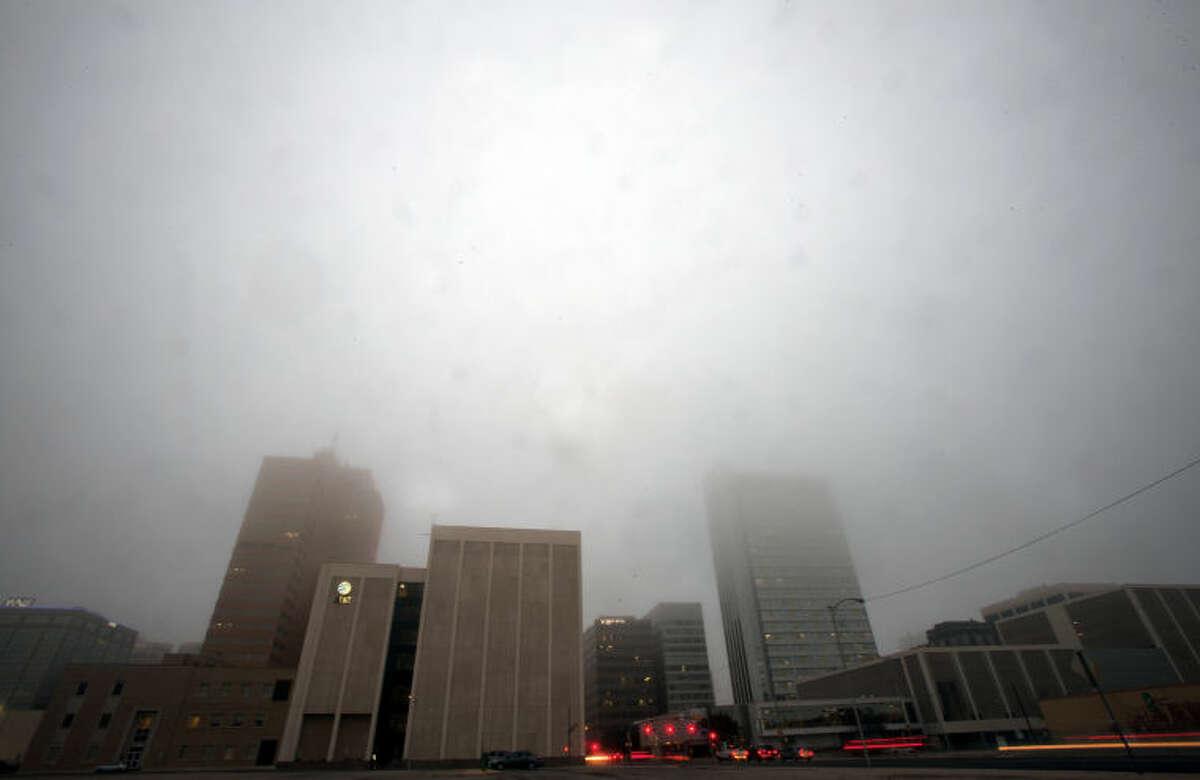 Midland downtown skyline in fog, photographed Feb. 3, 2014. James Durbin/Reporter-Telegram