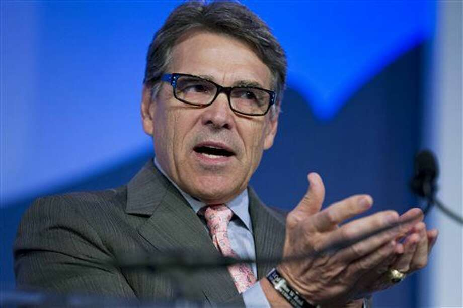 FILE - In this Sept. 25, 2015 file photo, former Texas Gov. Rick Perry speaks at an event in Washington. On Wednesday, Feb. 24, 2016, Texas' highest criminal court tossed the second and final felony charge against Perry, likely ending a case the Republican says helped sink his short-lived 2016 presidential bid. (AP Photo/Jose Luis Magana, File)