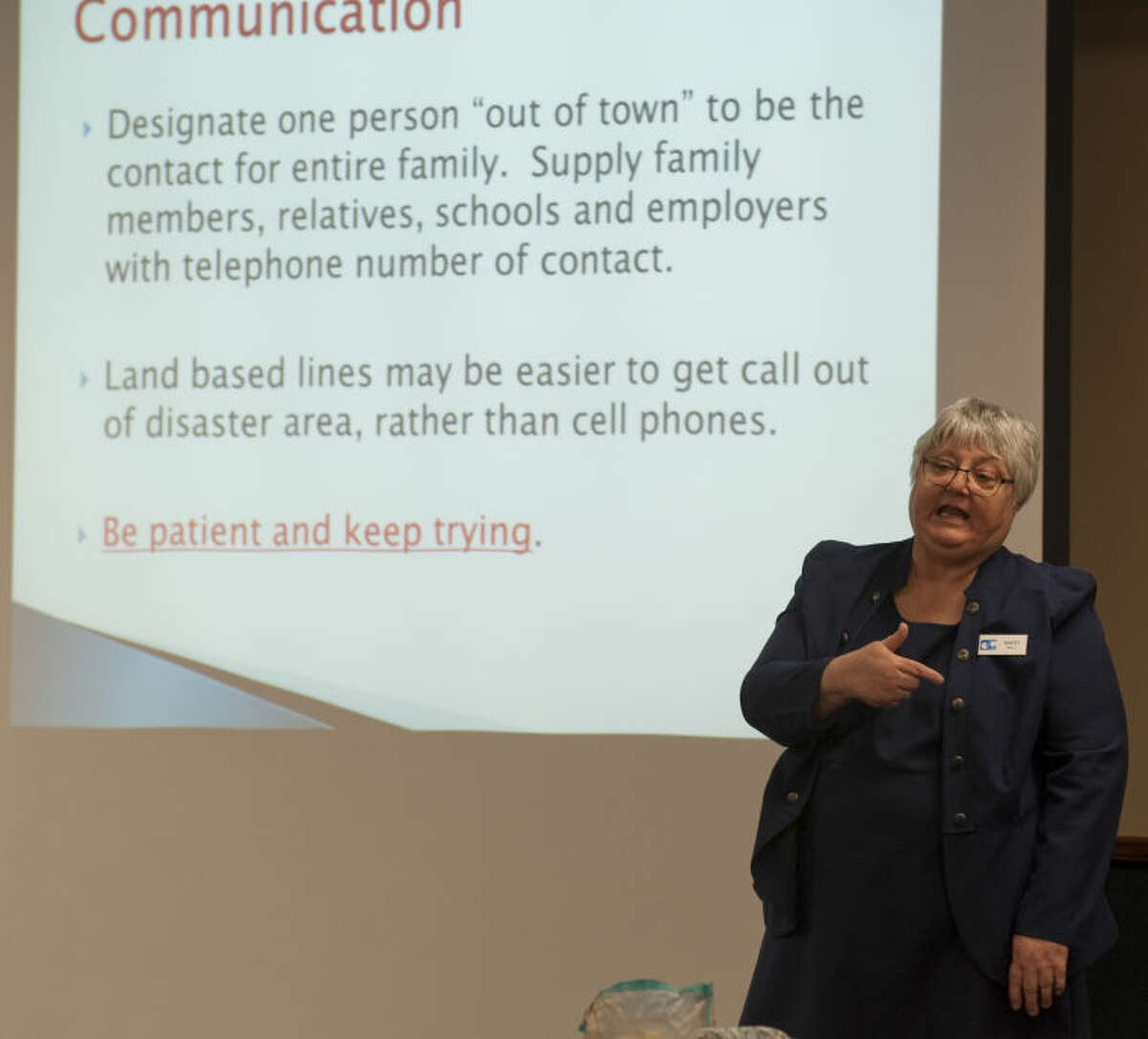 Mary Kipple speaks about preparedness in a disaster during the West Texas Conference on Aging. Tim Fischer\Reporter-Telegram