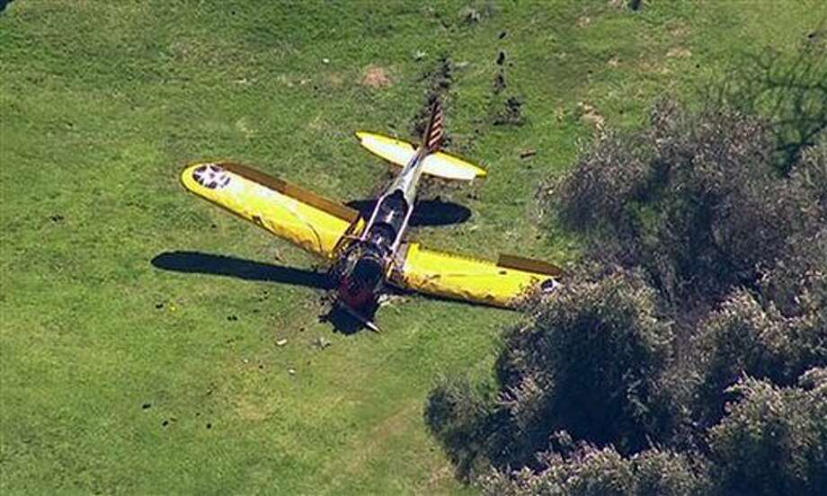 This image from video provided by KABC-TV shows a small plane that crash-landed on the Penmar Golf Course in the Venice area of Los Angeles, Thursday, March 5, 2015. Authorities say the single-engine plane went down around 2:30 p.m. Thursday on the green at the golf course near the Santa Monica Municipal Airport. (AP Photo/KABC-TV) MANDATORY CREDIT Photo: TEL
