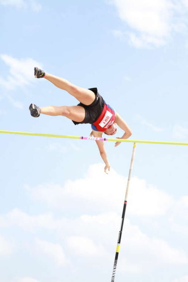 Midland Christian's Kami Berryhill competes in the pole vault on Friday at the TAPPS 4A Track & Field Championships in Waco.Courtesy photo