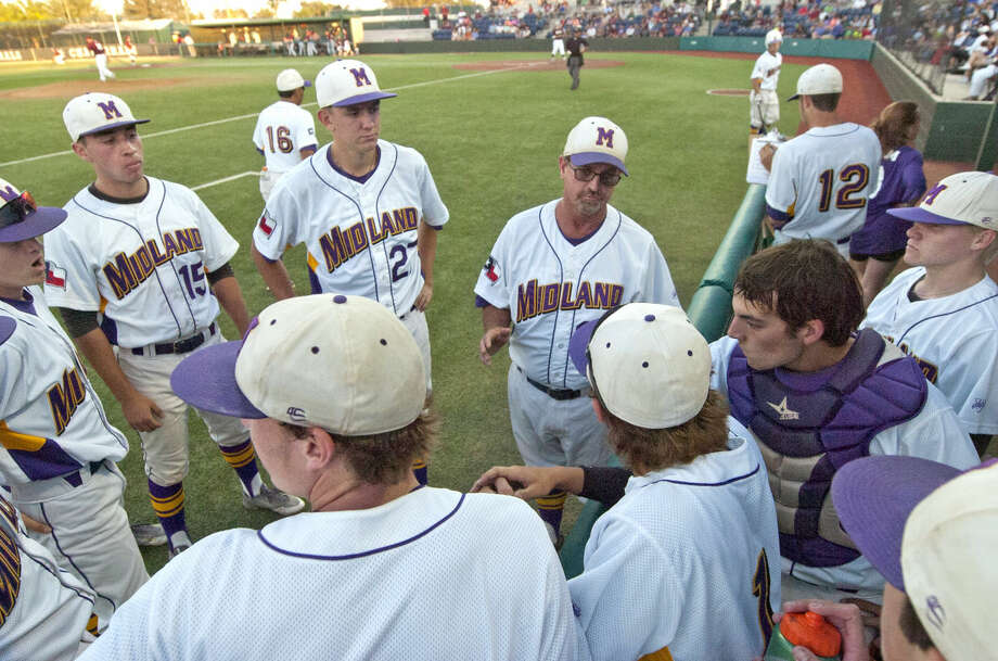 Midland High baseball head coach Barry Russell talks with his team between innings during the game against Lee High on Friday, May 1, 2015 at Christensen Stadium. Midland High beat Lee High 10-2. James Durbin/Reporter-Telegram Photo: James Durbin