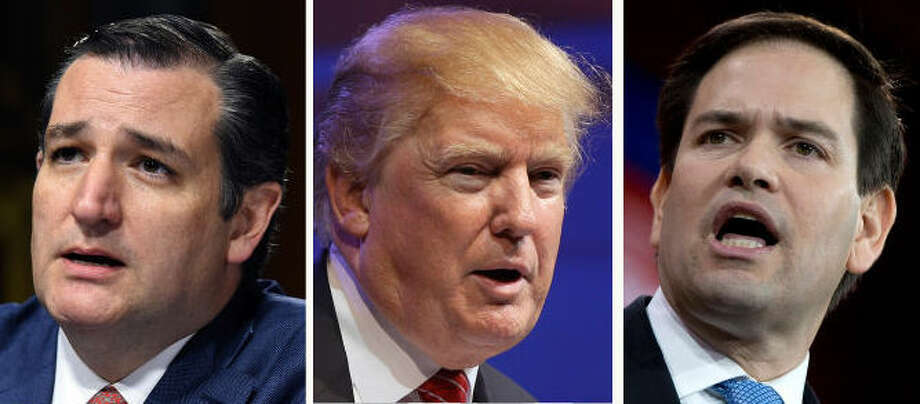 Presidential republican candidates Ted Cruz, Donald Trump, and Marco Rubio Photo: Associated Press