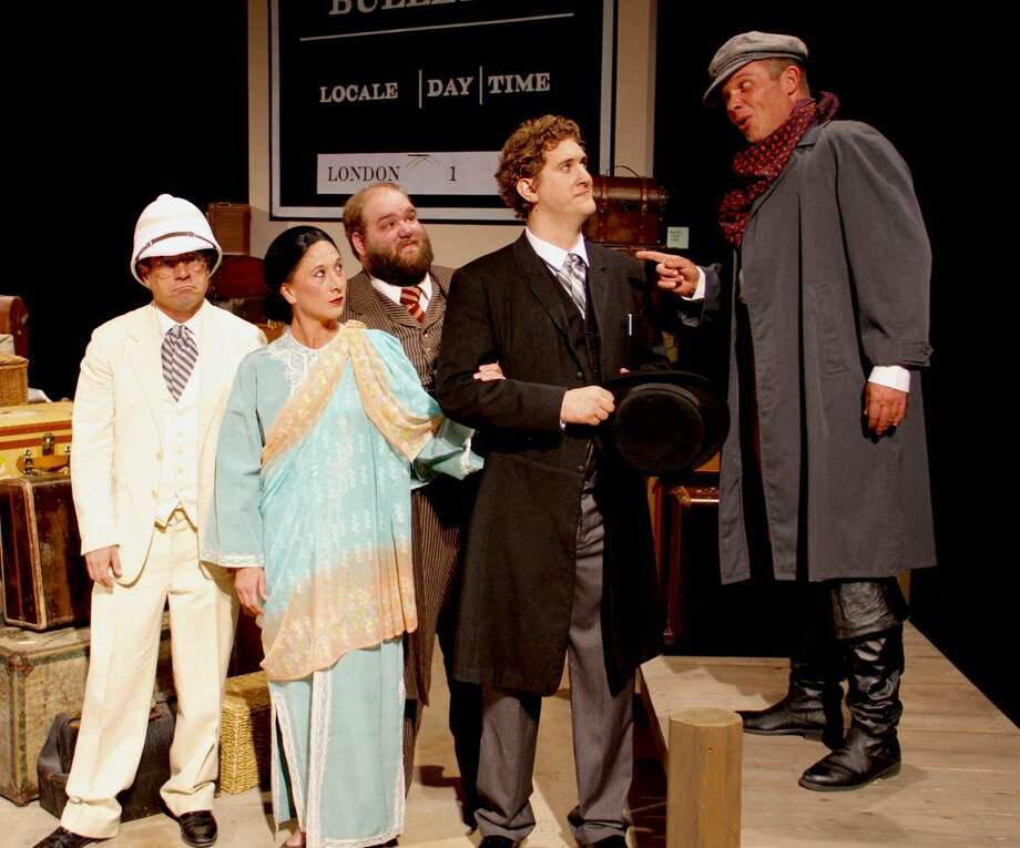 """From left, Joe Thomason, Misty Muesing, Daniel Collins, Cody Petty and Phil Tytanic appear in """"Around the World in 80 Days"""" at Midland Community Theater. Photo: Courtesy Photo. Ryan Loyd/MCT"""
