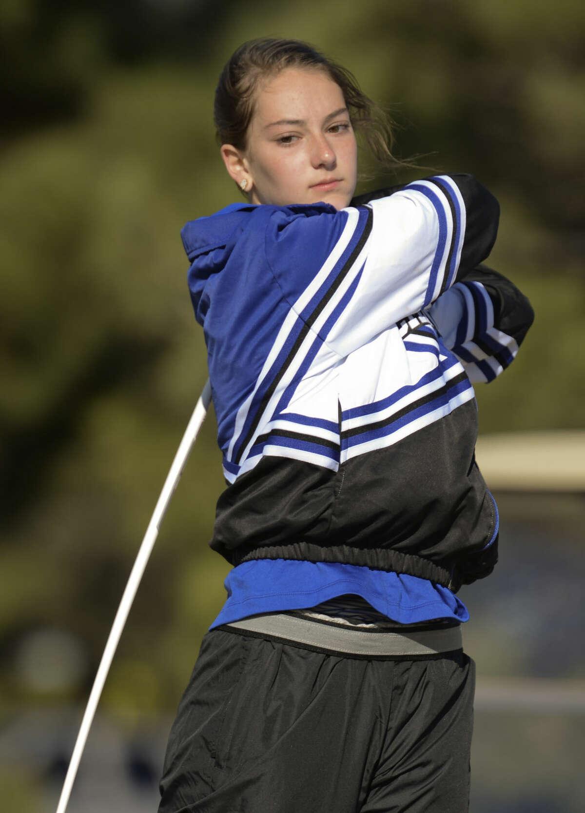 Trinity's Kinzie Roemer watches her shot Friday 02-26-16 at the Girls Tall City Golf Invitational. Tim Fischer/Reporter-Telegram