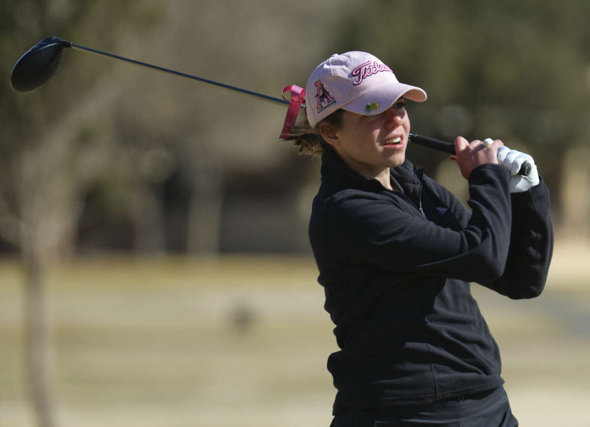 Andrews' Libby Walinder watches her shot Friday 02-26-16 at the Girls Tall City Golf Invitational. Tim Fischer/Reporter-Telegram
