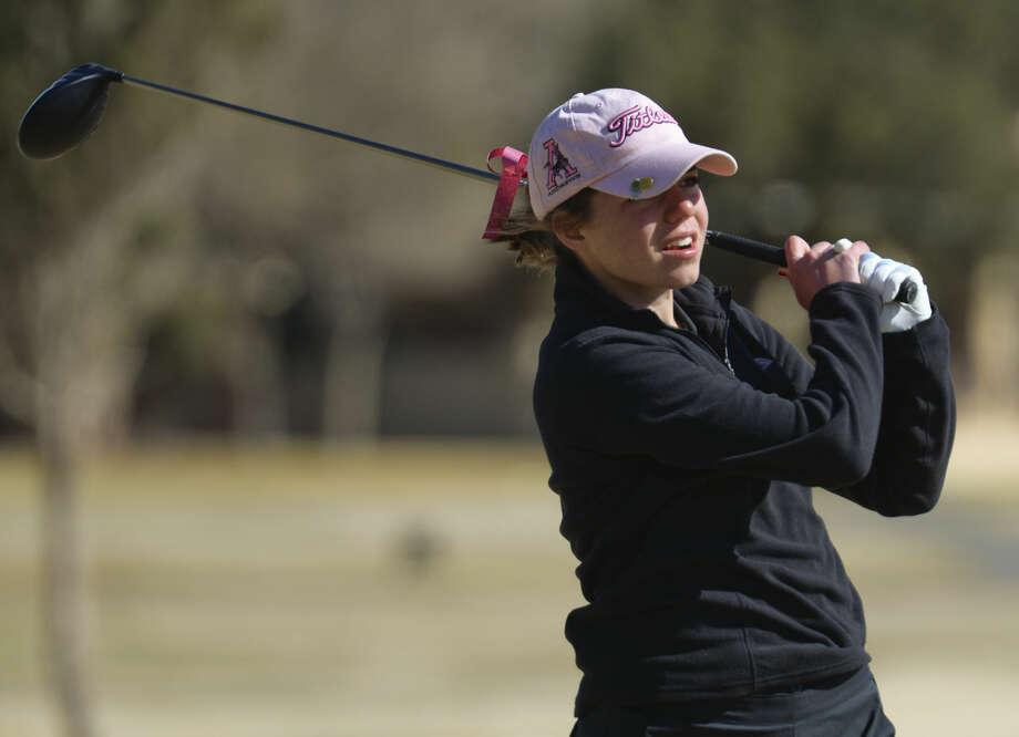 Andrews' Libby Walinder watches her shot Friday 02-26-16 at the Girls Tall City Golf Invitational. Tim Fischer/Reporter-Telegram Photo: Tim Fischer