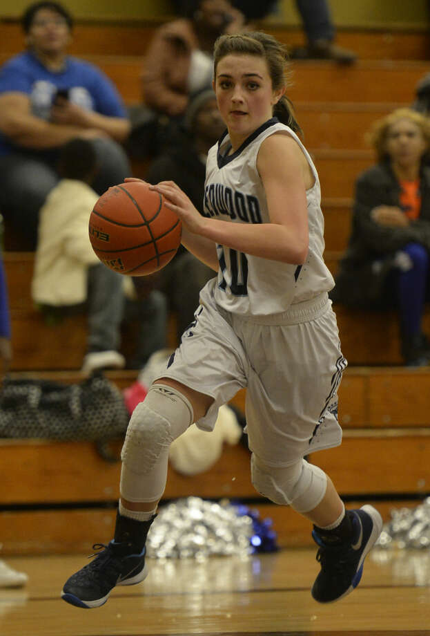 Greenwood's Caity Payne (10) takes the ball down the court against Lubbock Estacado in the regional quarterfinal game Tuesday, Feb. 23, 2016, at Lamesa Middle School in Lamesa. James Durbin/Reporter-Telegram Photo: James Durbin