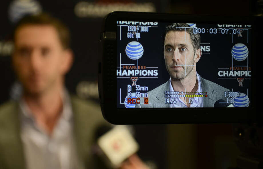Texas Tech football coach Kliff Kingsbury talks to the media Monday before a recruiting review fundraiser at the Horseshoe. Tim Fischer\Reporter-Telegram Photo: Tim Fischer