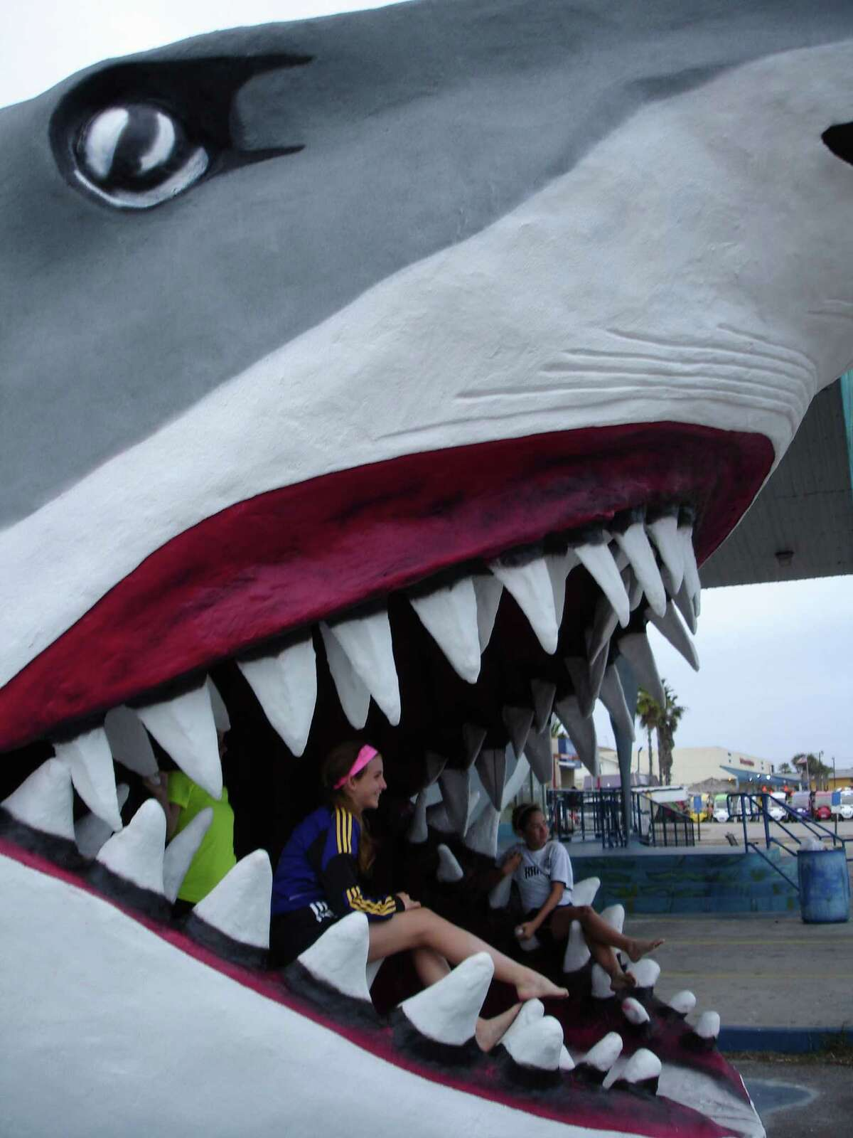 Shark jaws make for a popular photo backdrop. This one at Destinations, is one of the three in Port Aransas.