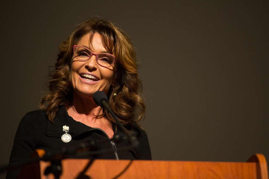 "Former Alaska Gov. Sarah Palin Thursday spoke at The John Ben Shepperd Public Leadership Institute's program on ""How Women are Showing 21st Century Leadership"" at the Wagner Noel. Photo: Courtney Sacco"
