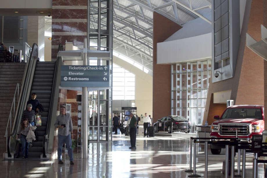 Interior view of the ticketing lobby of Midland International Airport, Feb. 13, 2014. James Durbin/Reporter-Telegram Photo: JAMES DURBIN