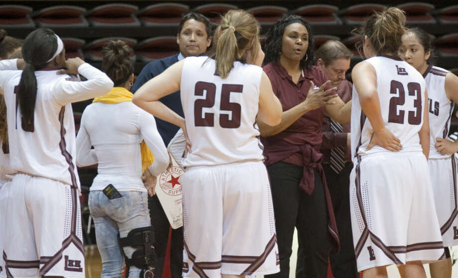 Lee High coach Monica Ramirez tries to encourage her players during a final time out Tuesday evening at Sul Ross State University in Alpine. Tim Fischer\Reporter-Telegram Tim Fischer\Reporter-Telegram Photo: Tim Fischer
