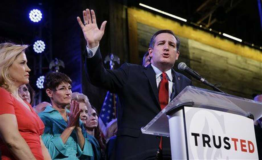 Republican presidential candidate, Sen. Ted Cruz, R-Texas, waves as he speaks during an election night watch party Tuesday, March 1, 2016, in Stafford, Texas. (AP Photo/David J. Phillip) Photo: David J. Phillip
