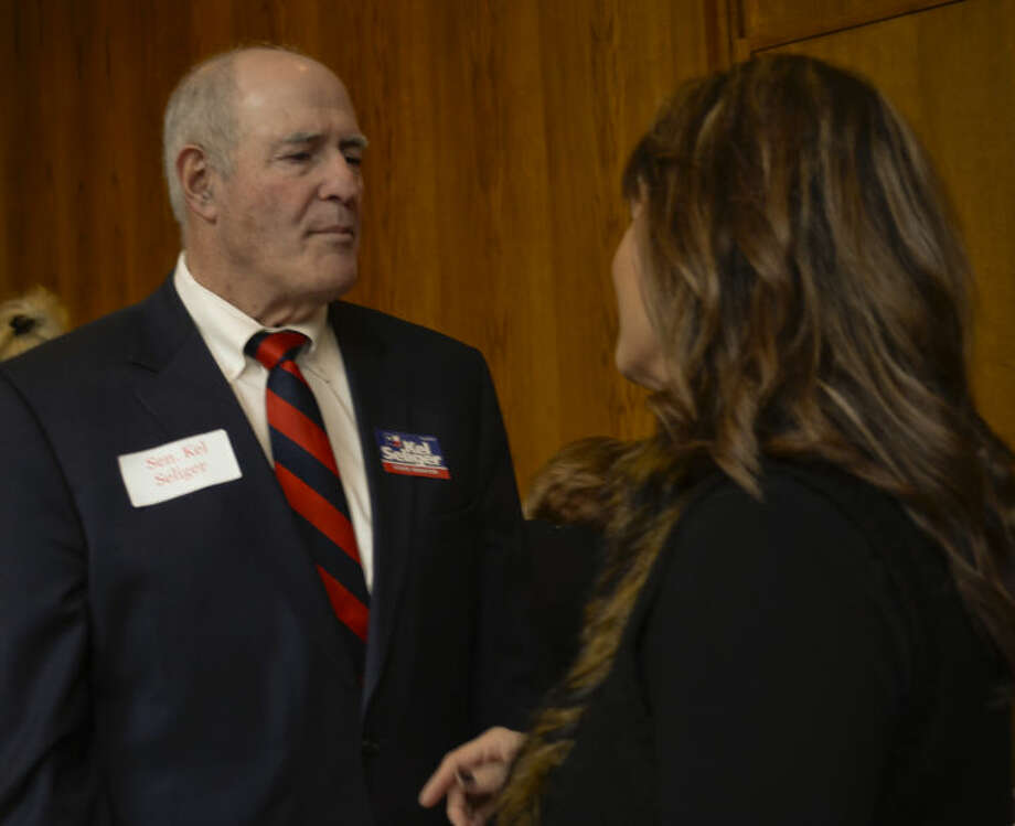 Senator Kel Seliger talks with Eva Salcido Wednesday at the Midland County Republican Women's luncheon. Tim Fischer\Reporter-Telegram Photo: Tim Fischer